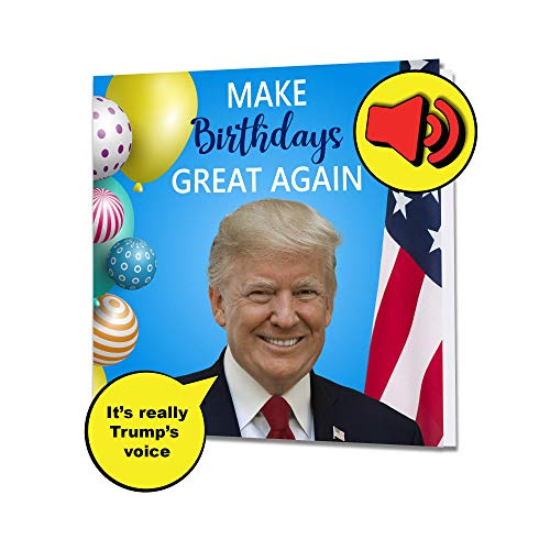 FOLE INC Singing Trump Birthday Card - Real Voice - Funny Patriotic President Donald