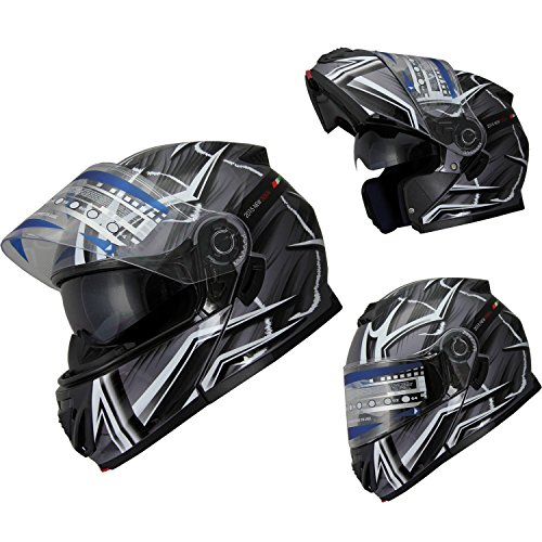 Helmet Modular Snowmobile (Snowmobile Motorcycle Helmet Mountain Bike Dual Visor Modular Flip up Anti Fog (612_black, M))