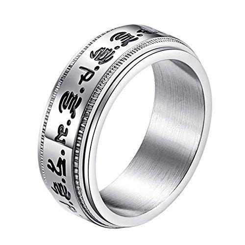 - PAURO Men's Stainless Steel Buddhist Healing Mantras Lucky Spinner Ring Engraved Tibetan Medicine Sutra Size 7