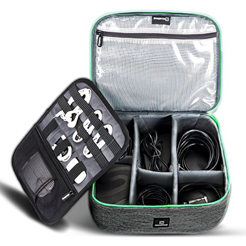 Cable Organizer Travel Bag,Electronics Accessories Organizer,Electronics Organizer Travel Bag and Travel Electronic Accessories Storage Bag for Cables,Phone,Power Bank, Mouse,iPad - Green by NiceEbag