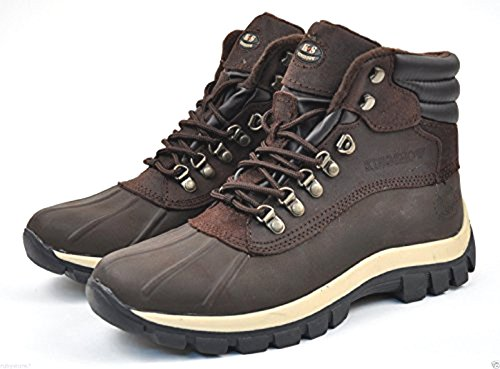 Kingshow Men's 0705 Winter Snow Boots Shoes Leather Waterproo (9.5, brown)