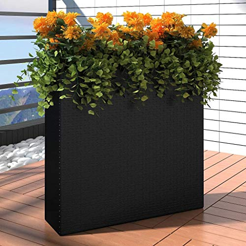 Fiberglass Garden Planter - Hellowland Garden Rectangle Rattan Planter Set, Long Narrow Rectangular Modern Outdoor Planter Box Decorative Fiberglass Flower Pot for Garden Patio Home or Office Black