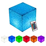 INNOKA 8-inch LED Cube Light, Waterproof & Cordless [Small Glow Cube] Rechargeable, RGB Color Changing Mood Lamp for Pool Light, Outdoor, Home, Bedroom, Patio, Party, Decorative Lighting - Granite