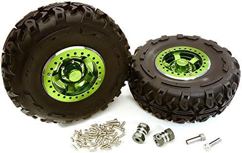 Integy RCモデルhop-ups c27038green 2.2X 1.5-in。高質量合金ホイール、タイヤ& 14m