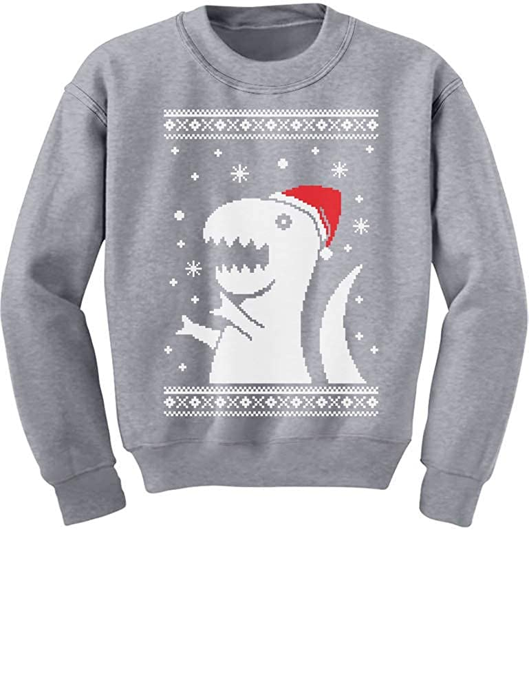 Ugly Christmas Sweater Big Trex Santa - Children Funny Kids Sweatshirt GM0MlMgfm