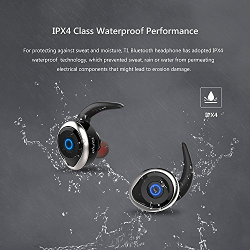 True Wireless Earbuds, AWEI T1 Invisible Headphones TWS Mini Earphone Stereo for iPhone Samsung Android Phones (Silver)