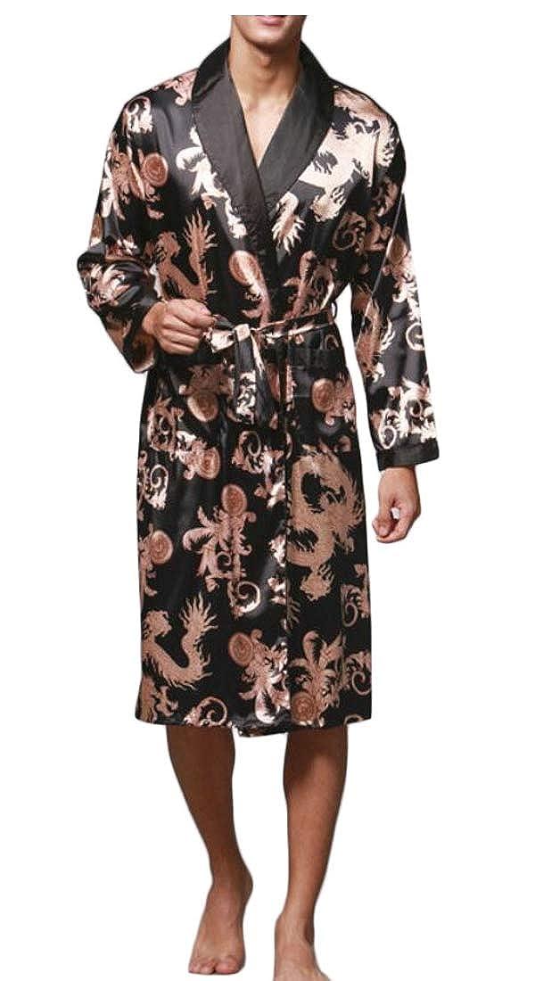 Alion Mens Kimono Comfortable Printed Pajamas Long-Sleeved Satin Robe