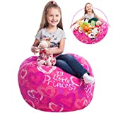 "5 STARS UNITED Stuffed Animal Storage Bean Bag - Kids Chair Сover - Little Princess Icon, diam 27"" - Large Toy Organizer - Stuff, Zip, Sit Pink Pouf, Trendy Girl Bedroom Idea"