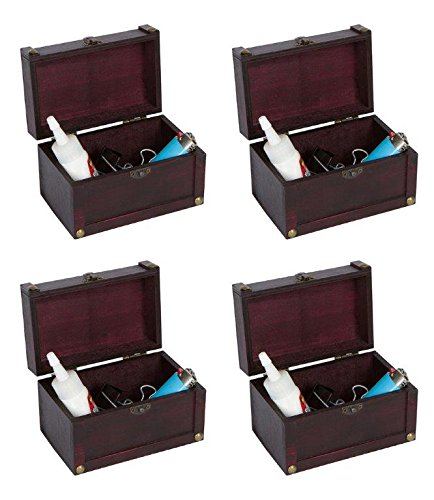 Trademark Innovations Small Decorative Wood Treasure Chest - Set of 4 By - Marks Treasure Chest