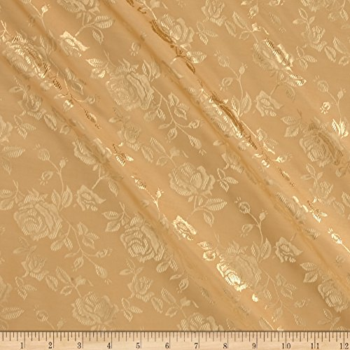 Ben Textiles Rose Satin Jacquard Gold Fabric By The Yard
