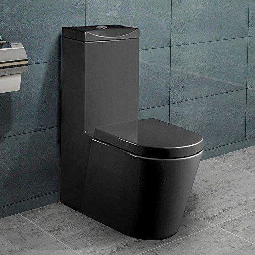 SoftClose WC Sitz Schwarz A380B-N Lux-aqua Design Keramik Stand Nano-Beschichtung inkl