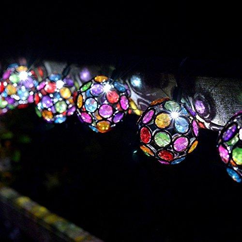 Smart Garden Solar String Lights 10 Multi Glow Multi Colour Globes Gems White LED (Multi Gem Globe)