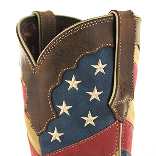 FB Fashion Boots Women's Drd0197 Lady Rebel Cowboy Boots Brown Patriotic Flag Fwh8Zj