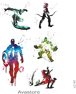 Tatuaje Temporal esbozo Super héroe Avengers tatuaje efímero ...
