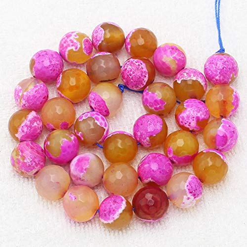 (Calvas Faceted 6-12mm Double Color Fire agates Round Beads 15