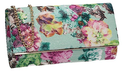 Celebrity Flapover Clutch Evening Krya Purse Wedding SWANKYSWANS Mint Night Ladies Prom Out Floral Party Bag 87wxPq5