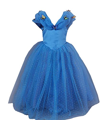 2t Cinderella Costume (iFigure Blue Cinderella Princess Costume Dress Halloween Party Dress for Girls)