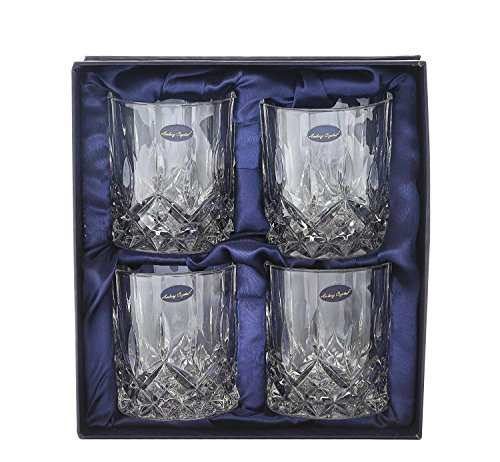 Amlong Crystal Lead Free Double Old Fashioned Crystal Glass, 9 Ounce, Set of 4 for Whiskey Glasses, Scotch Glasses, Tumblers for Drinking Bourbon, Cognac, Irish - Fashioned China Glass Old