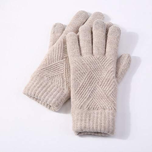 ニットファッションダイヤモンドパターン秋と冬のタッチスクリーン手袋カップル耐候プラス厚いビロードの車に乗っ手袋、色:ブルー、サイズ: (Color : Kaki)
