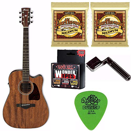 Ibanez Artwood Dreadnought Acoustic Electric Guitar (Open Pore Natural Finish) Bundle Includes 2 Sets of Strings, Wonder Wipes, Guitar Pics and String Winder