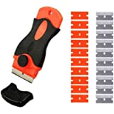 Mini Razor Scraper for Removing Glue Residue with 10pcs Plastic Safety Blades and 10pcs Carbon Steel Blades