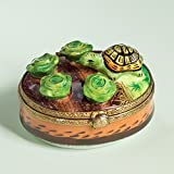 Authentic French Hand Painted Limoges Porcelain Turtle with Lettuce Box