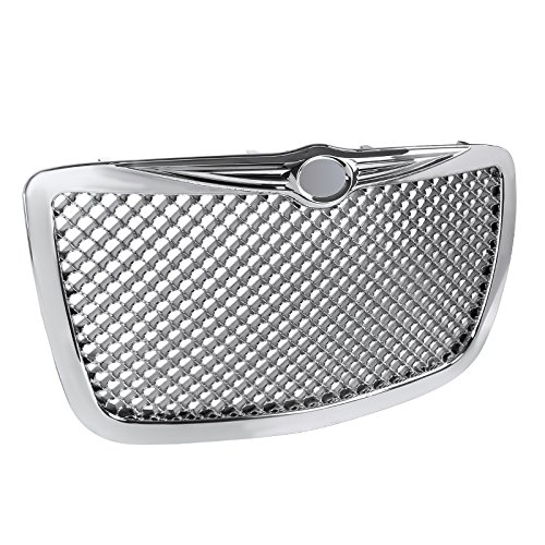 (Spec-D Tuning HG-300C05C Chrysler 300 300C Front Chrome Mesh Honeycomb Grill Grille)