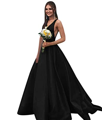 b903c1acd9a48 QueenBridal V Neck Prom Dresses Long Satin Evening Ball Gowns for Women  Formal with Pockets QB