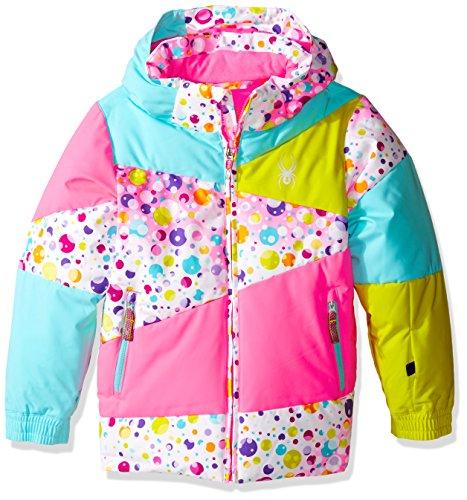 Spyder Kids Glove - Spyder Girls Bitsy Duffy Puff Jacket, Size 6, Party Multi Print/Bryte Bubblegum/Freeze