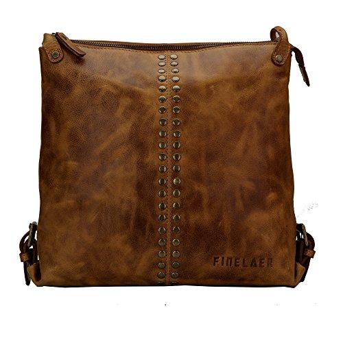 Finelaer Women Brown Leather Hobo Shoulder Crossbody Bag ()