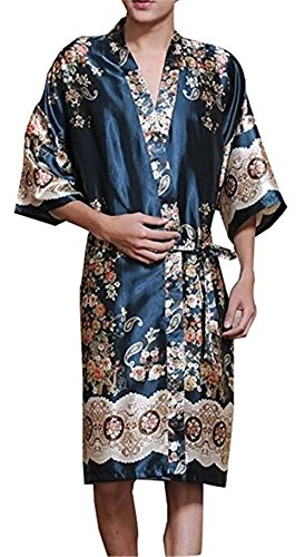 Kangkang@ Khan Steamed Clothes Men's Pajamas Bathrobes Kimono Robes Men's Kimono Pajamas (XL, Navy Blue)