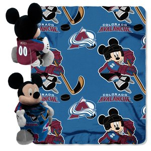 (The Northwest Company Officially Licensed NHL Colorado Avalanche Ice Warriors Co Disney's Mickey Hugger and Fleece Throw Blanket Set )