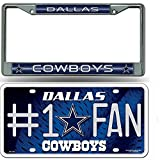 Dallas Cowboys NFL Glitter Bling Chrome Plate Frame & Cowboys Number One Fan License Plate