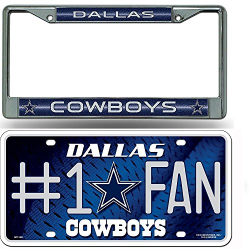 Dallas Cowboys NFL Glitter Bling Chrome Plate Frame & Cowboys Number One Fan License Plate by NFL Rico