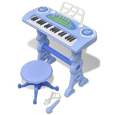 SOULONG - Teclado de 37 Teclas con Patas y Taburete, acompañado de micrófono, Piano para Juegos Infantiles, Color Azul, 53 x 20 x 48 cm: Hogar