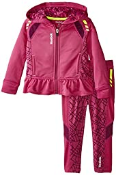 Reebok Toddler Girls\' Performance Hoodie and Pant Set, Orchid Purple, 3T