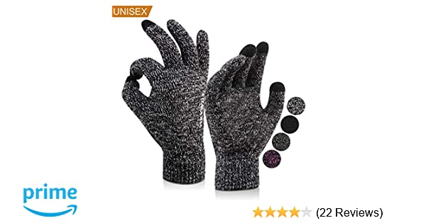 Upgraded HONYAR Winter Warm Knit Gloves Touchscreen for Men Women with Soft Lining Elastic Cuff Anti-slip Grip