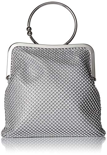 Jessica McClintock Jill Framed Mesh Pouch with Ring Handle, Silver (Sequin Mesh Clutch)