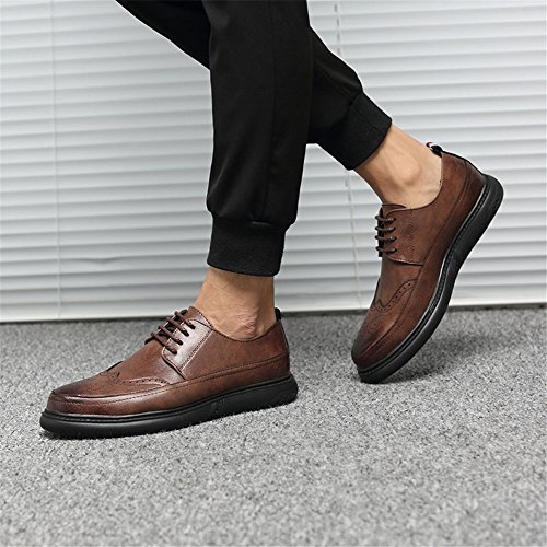 Fang Color shoes Black piatte 45 Dimensione stringate Estate 2018 Primavera EU basse bretelle Patent Scarpe con uomo da Marrone qrpd7qxw6A