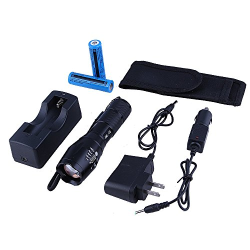 Hatori XML T6 LED Flashlight 5 Mode Zoomable Torch with Battery and Charger (Flashlight Kits) - Middle Appliance Handle