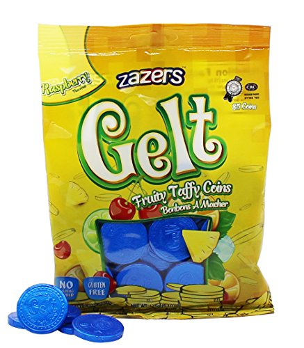 - Zazers Gelt Coins Blue Raspberry Fruit Nut Free Chewy Taffies Kosher 35 Coins - Pack of 2