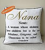 DecorHouzz Glamma Embroidered Pillow case Decorative Cushion Cover Grandmother Gift Nana Throw Pillow case Birthday Gift, Grandma Pillow cover, Me-Ma (18x18, Nana)