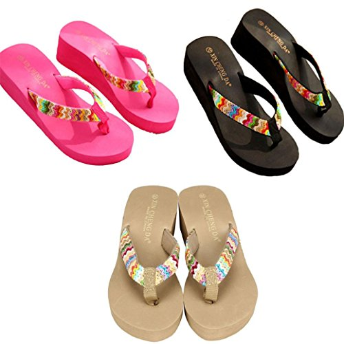 hunpta Lady Slippers, Summer Platform Sandals Beach Flat Wedge Patch Flip Flops Lady Slippers Black