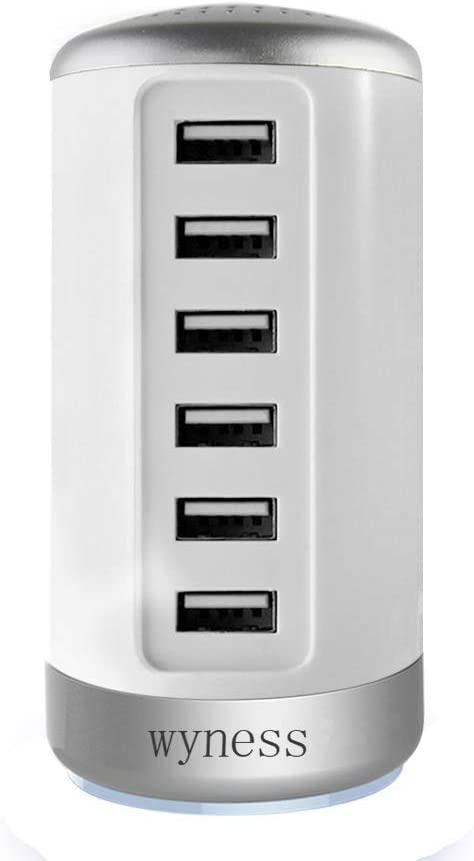 Universal USB Charger 6-Port Desktop USB Hub Charging Station with Smart Identification Technology for Phone, Tablets, and More White