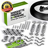 String Light Hanging Kit with Zip Ties For Easy Professional DIY Installation of Indoor and Outdoor Globe Lights | 164 feet Stainless Steel Vinyl-Coated Wire Cable With Heavy-Duty Mounting Hardware