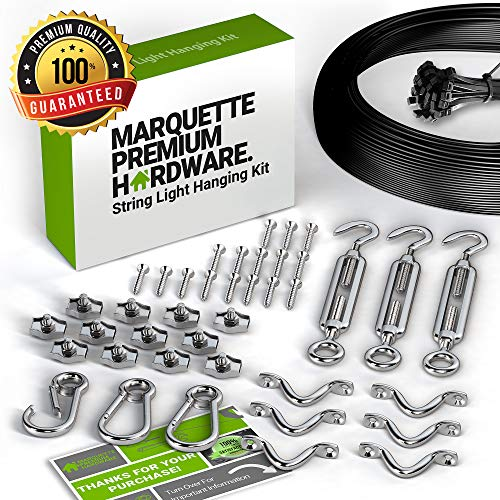String Light Hanging Kit with Zip Ties For Easy Professional DIY Installation of Indoor and Outdoor Globe Lights | 164 feet Stainless Steel Vinyl-Coated Wire Cable With Heavy-Duty Mounting Hardware by Marquette Premium Hardware (Image #7)