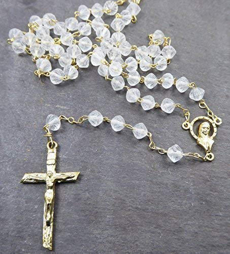 Matte Bicone - R. Heaven Clear Matte Glass bicone Rosary Beads Our Lady Center 6mm Gold Chain and Cross