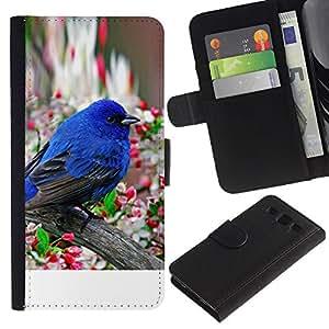 KingStore / Leather Etui en cuir / Samsung Galaxy S3 III I9300 / Robin Pájaro azul de la primavera flor de manzano