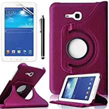 Cover Samsung Galaxy Tab 3 Lite 7.0 Tablet Case,Galaxy Tab3 7 inch Case,360 Rotating Leather Protective Case for Samsung Galaxy Tab 3 Lite 7.0 SM-t110 Case+ Screen Protector + Stylus,Purple