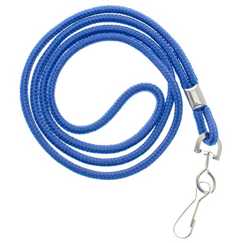 25 Pack - Premium Round ID Badge Neck Lanyards for Card Holders and Name Tags - 36 in Non-Breakaway Heavy Duty Cord & Secure Metal Swivel J Hook Clip by Specialist ID (Royal Blue)